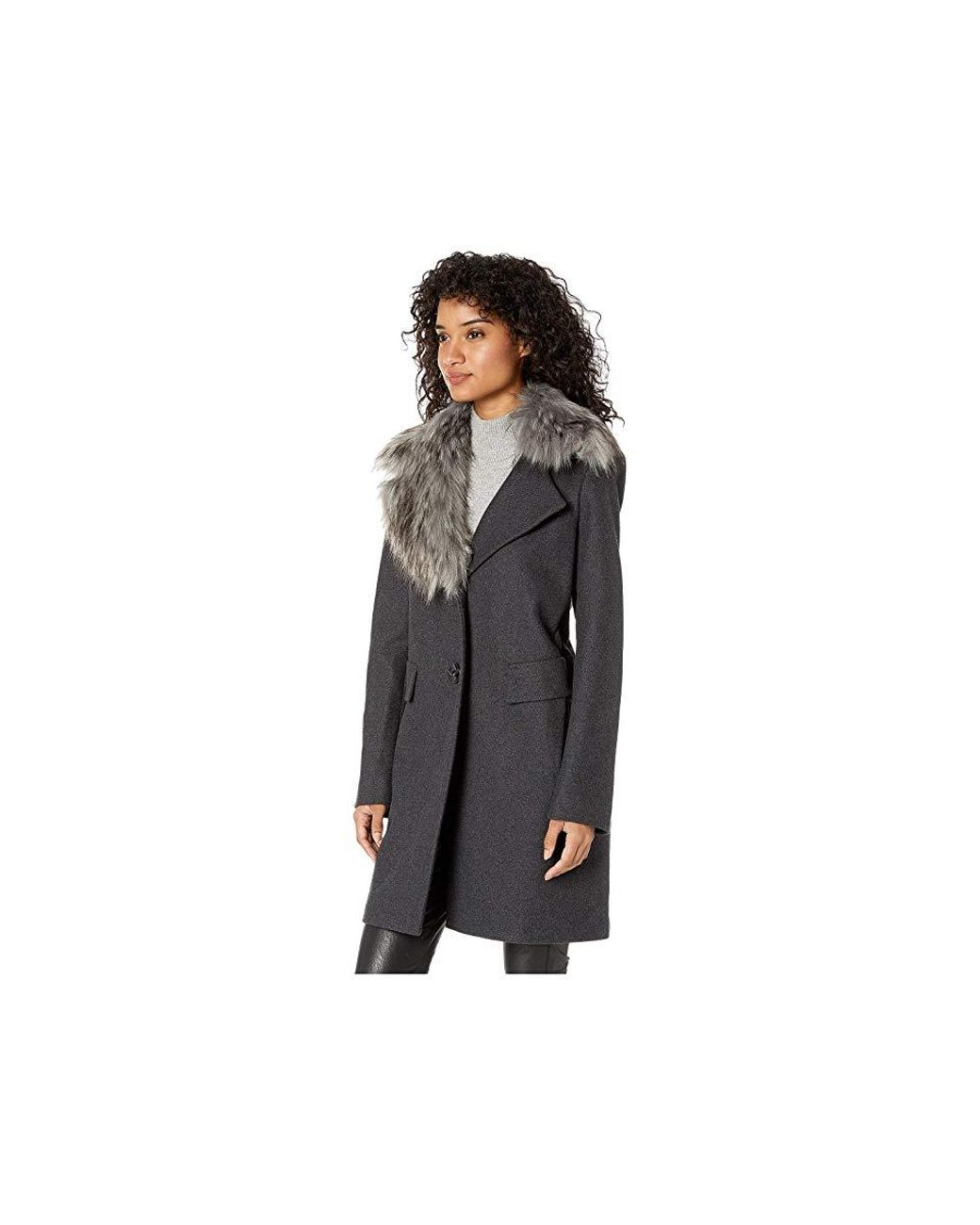 2020e3eb4 Sam Edelman Asymmetrical Faux Fur Walker Coat (grey) Coat in Gray - Save  74% - Lyst
