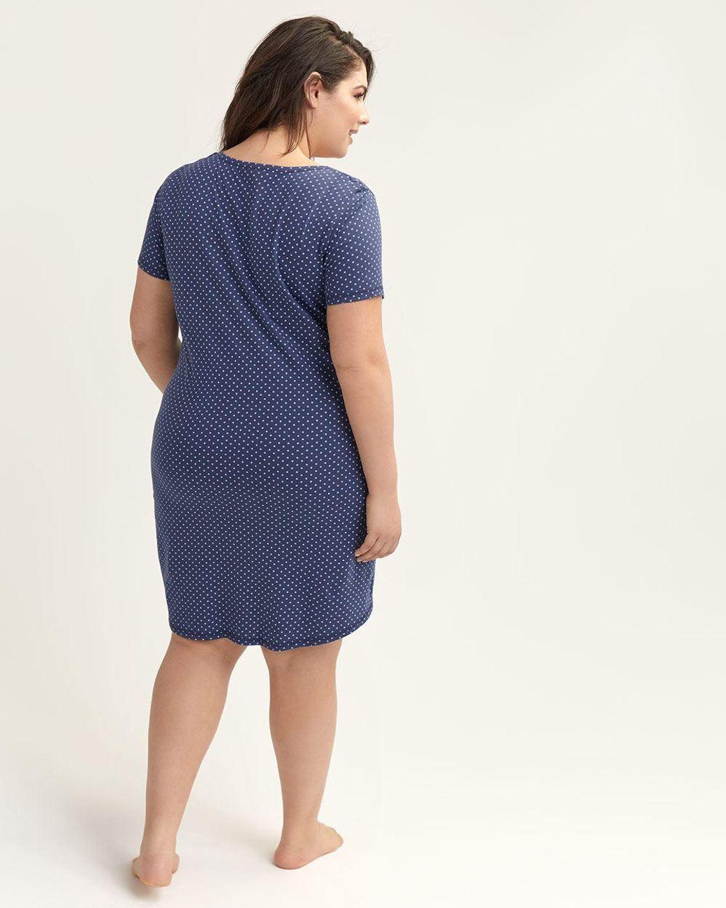 4325add80 Lyst - Addition Elle Dotted Short Sleeve Sleepshirt - Ti Voglio in Blue