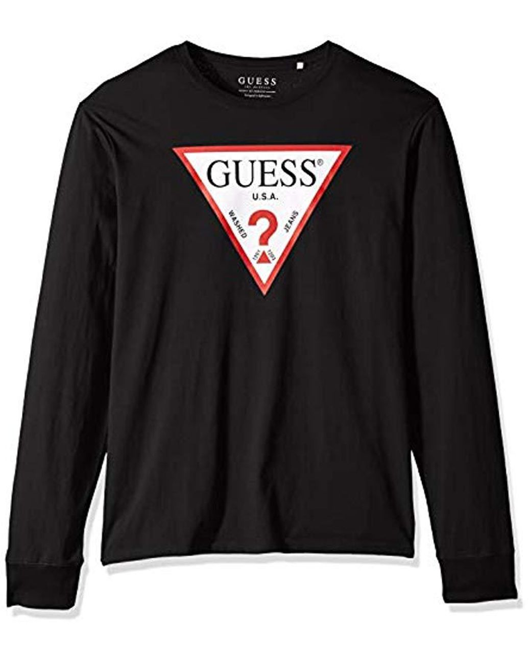 eb664c0f Guess Long Sleeve Classic Logo T-shirt in Black for Men - Lyst