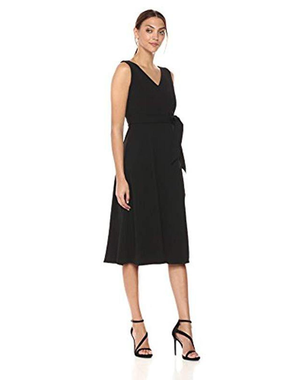 0c44e4cd7b3 Calvin Klein Sleeveless V Neck Midi Dress With Self Sash Waist in Black -  Save 28% - Lyst