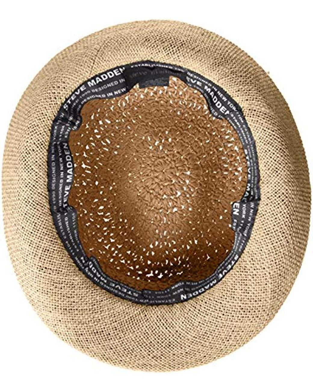 eabcf423bbed67 Steve Madden Paper Crochet & Jute Short Brim Fedora With Two Tone Band in  Gray - Save 36% - Lyst