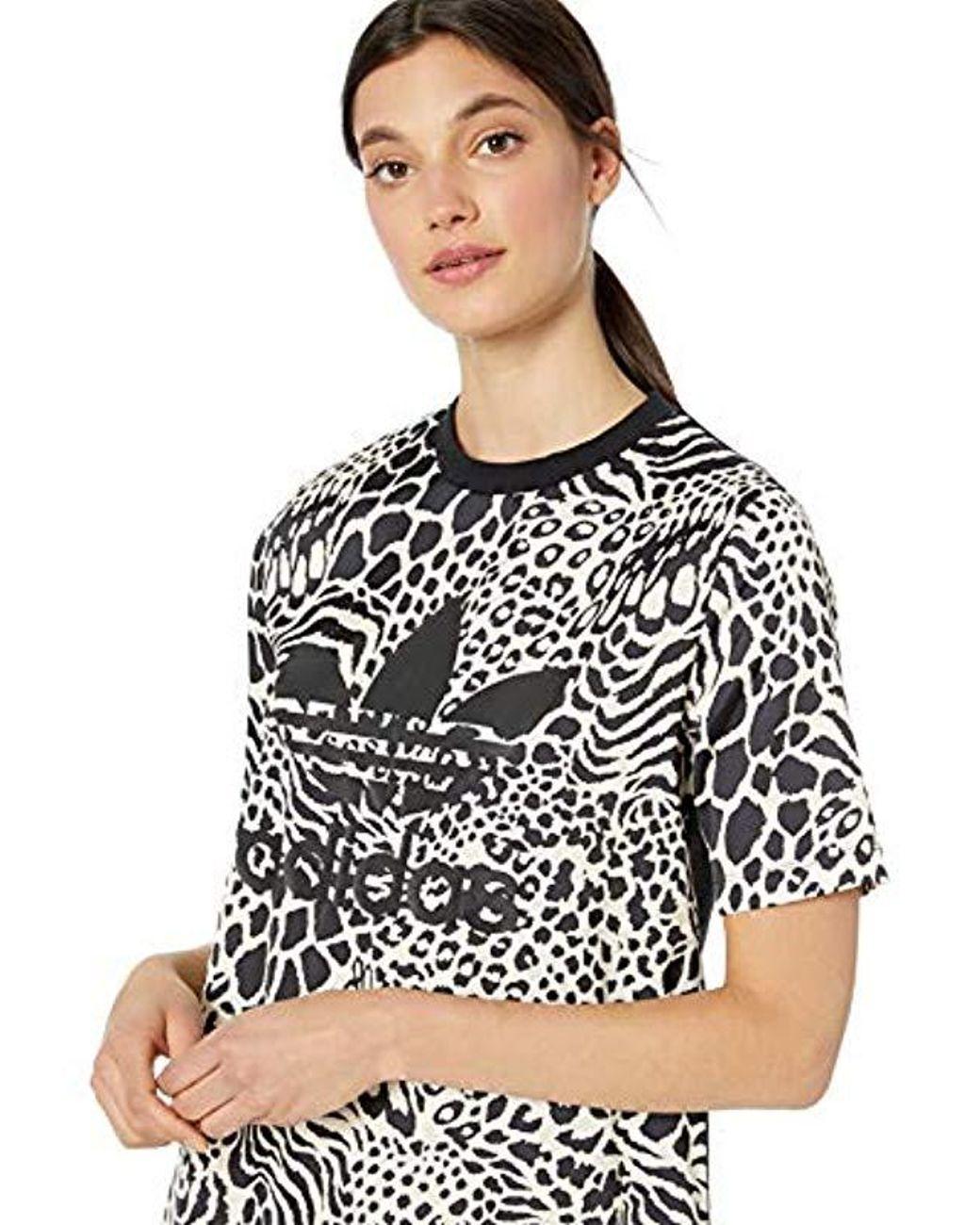 00de57518c0 adidas Originals Tee Dress All Over Print in Black - Lyst