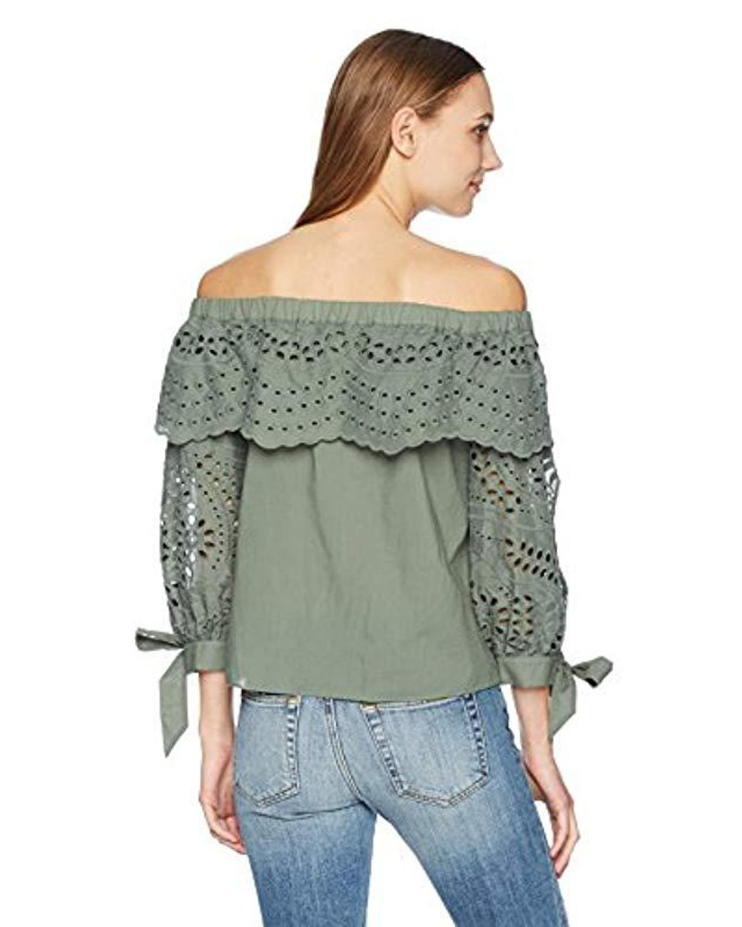 716ab5a989eef Lyst - Parker Mandy Off The Shoulder Eyelet Blouse in Green