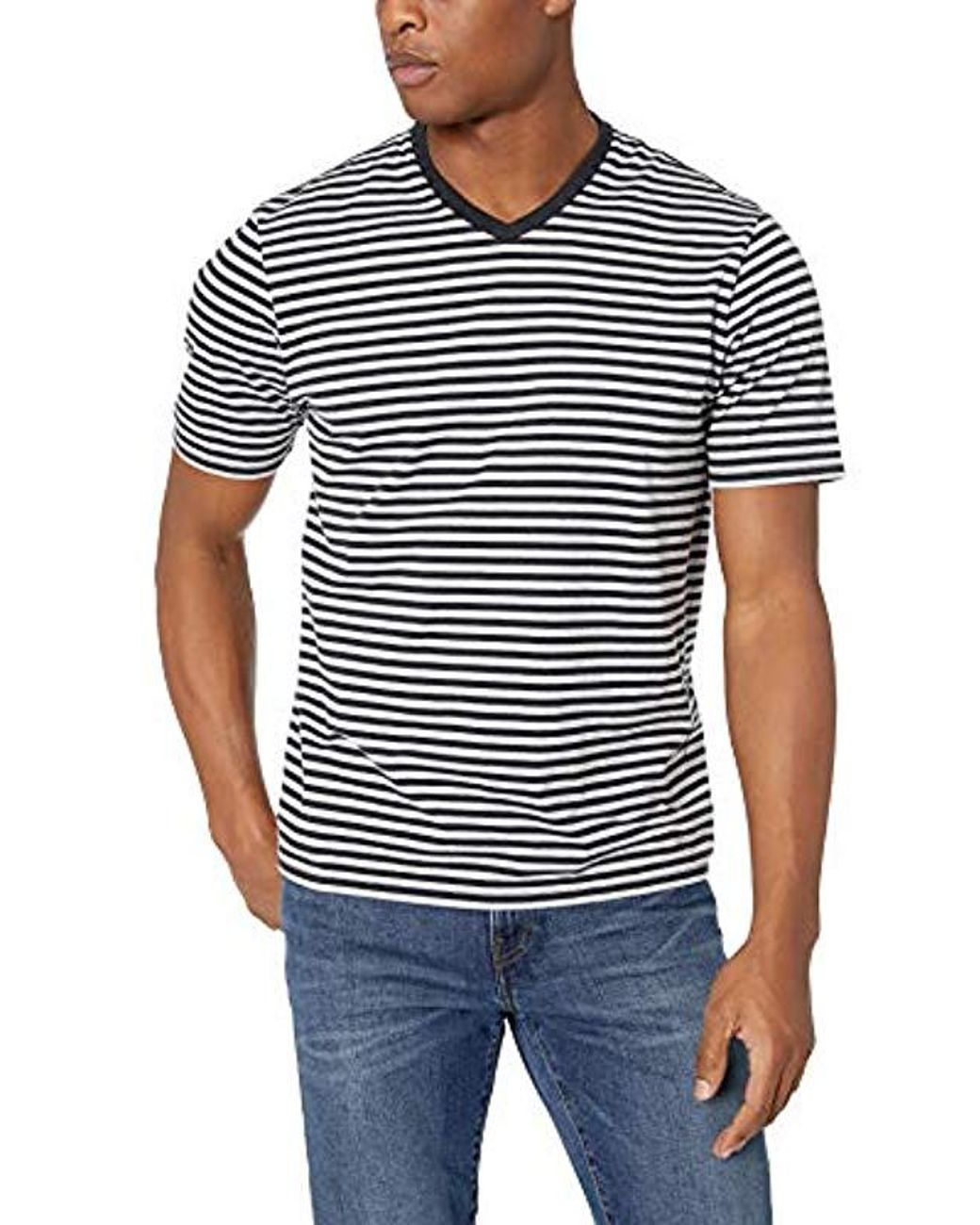 bbb1aec0f1 Lyst - Amazon Essentials Loose-fit Short-sleeve Stripe V-neck T-shirts in  Black for Men