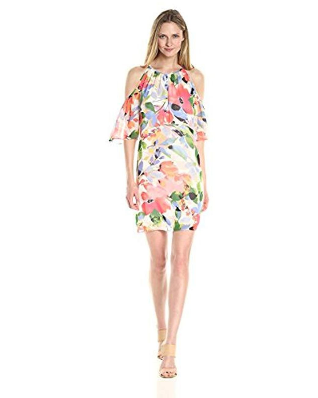 62676d3f49c Long-Touch to Zoom. Long-Touch to Zoom. 1  2. Maggy London - Multicolor  Chiffon Print Cold Shoulder ...