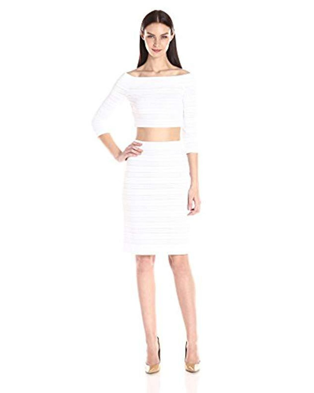 40842d1f21 BCBGMAXAZRIA Bcbgmax Azria Bettie Top And Skirt Set in White - Save 56% -  Lyst