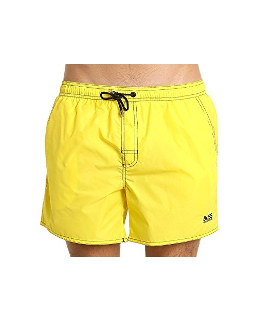 e587f24ccdd2b BOSS Lobster 5 Inch Solid Swim Trunk in Yellow for Men - Lyst