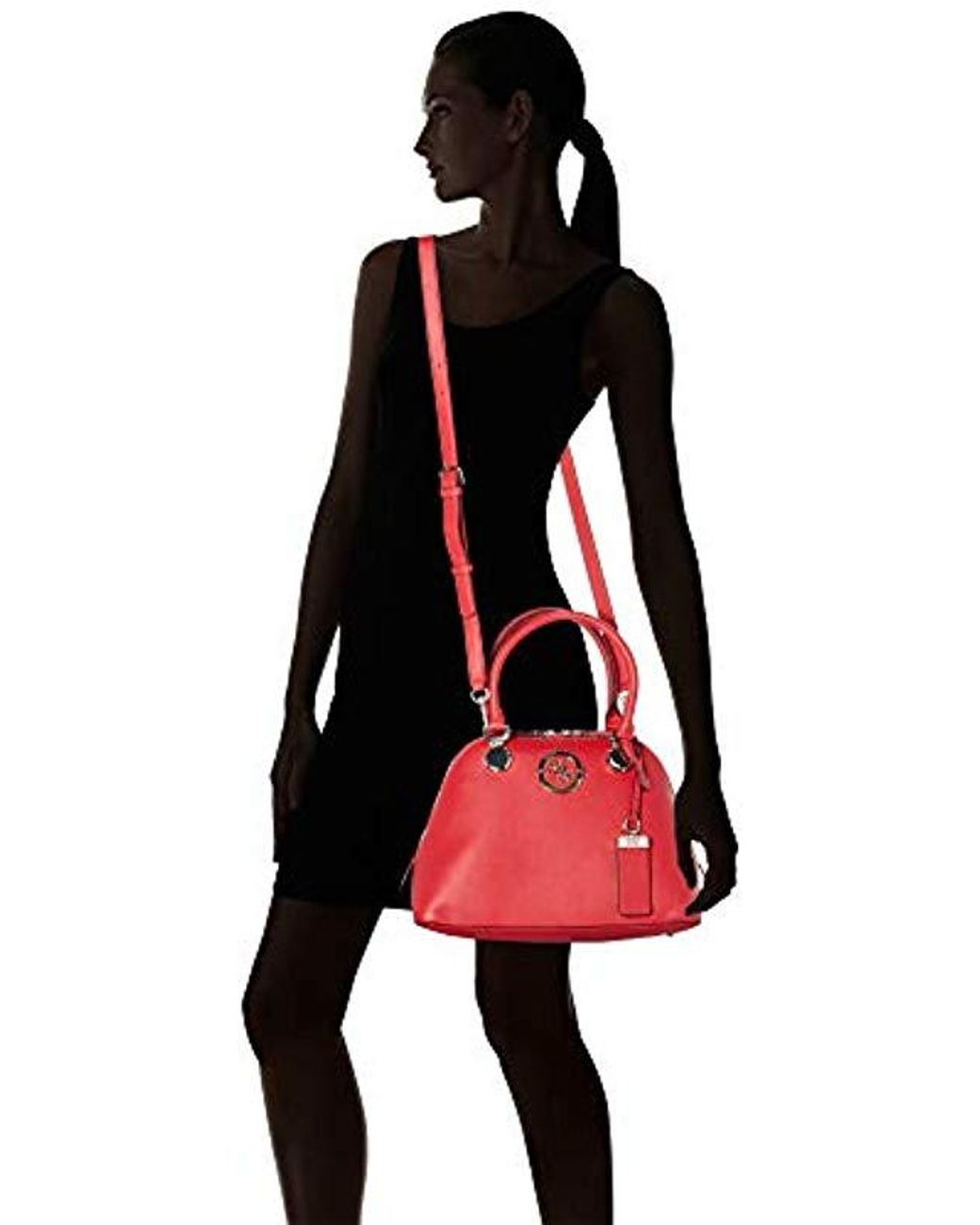 GUESS LANDON SMALL Dome Satchel Red