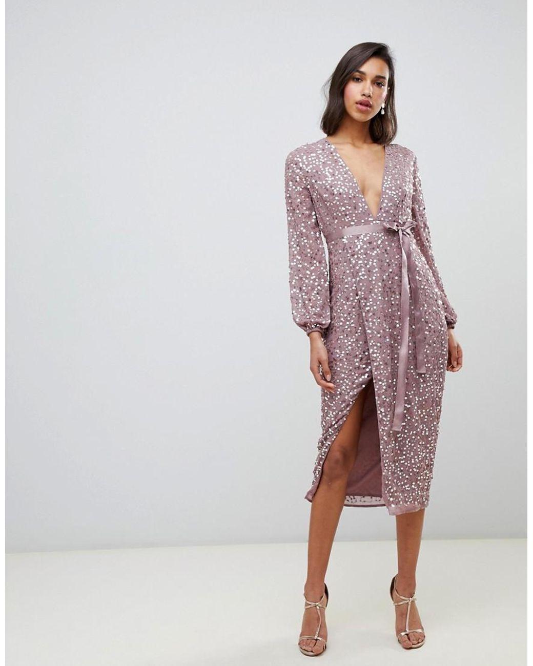 últimos diseños diversificados comprar baratas nuevo lanzamiento Vestido midi con lentejuelas dispersas y lazo en la cintura de mujer de  color rosa