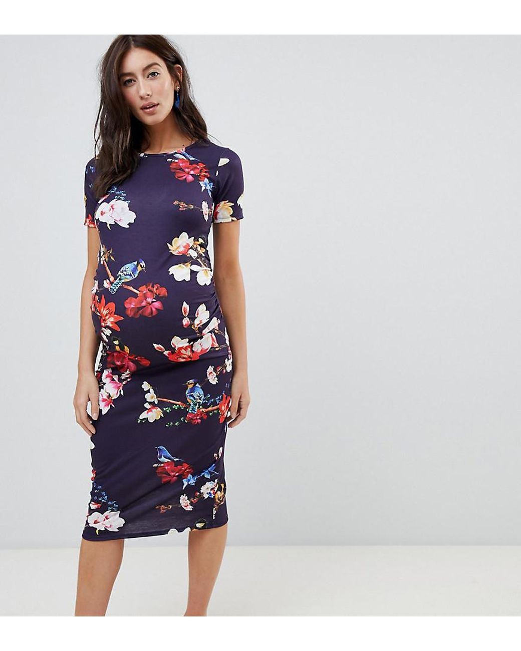 51fae102d78 Bluebelle Maternity Short Sleeve Bodycon Dress In Floral - Lyst