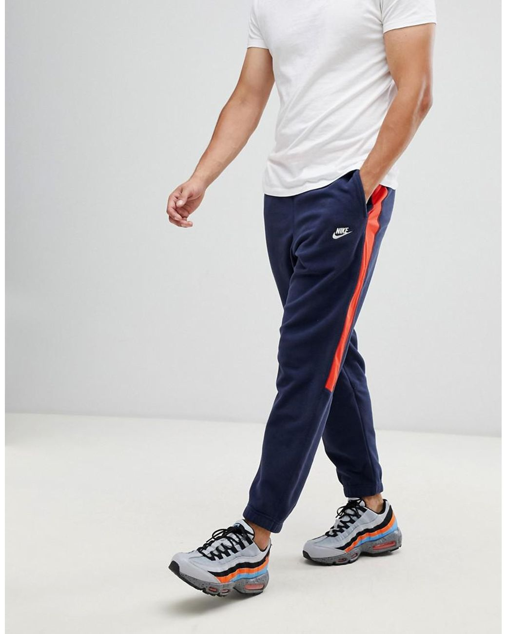 5baa902a93c5 Nike Borg Joggers With Side Stripe In Navy 929126-451 in Blue for ...
