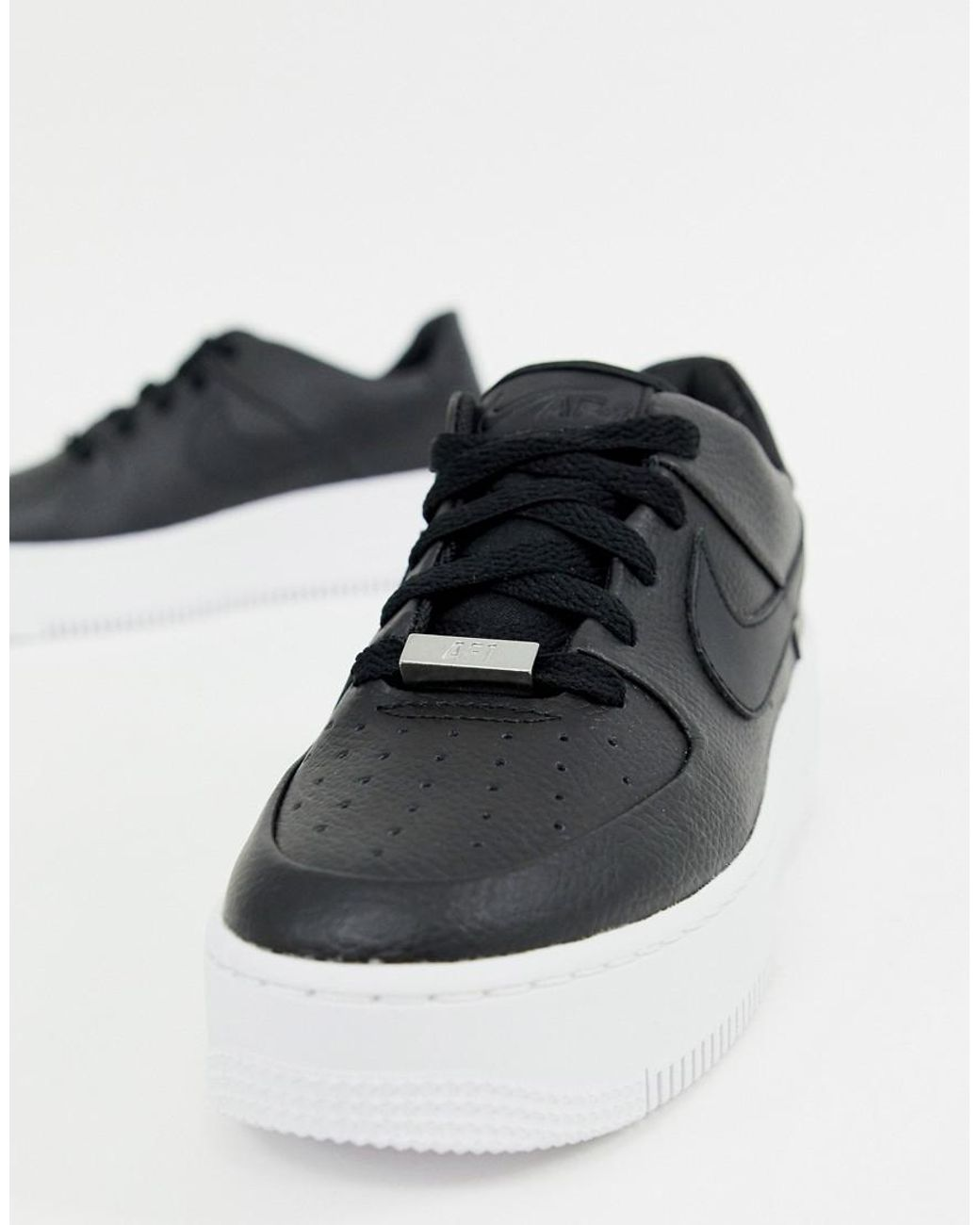 b5c27f83c69a Nike Black Air Force 1 Sage Trainers in Black - Lyst