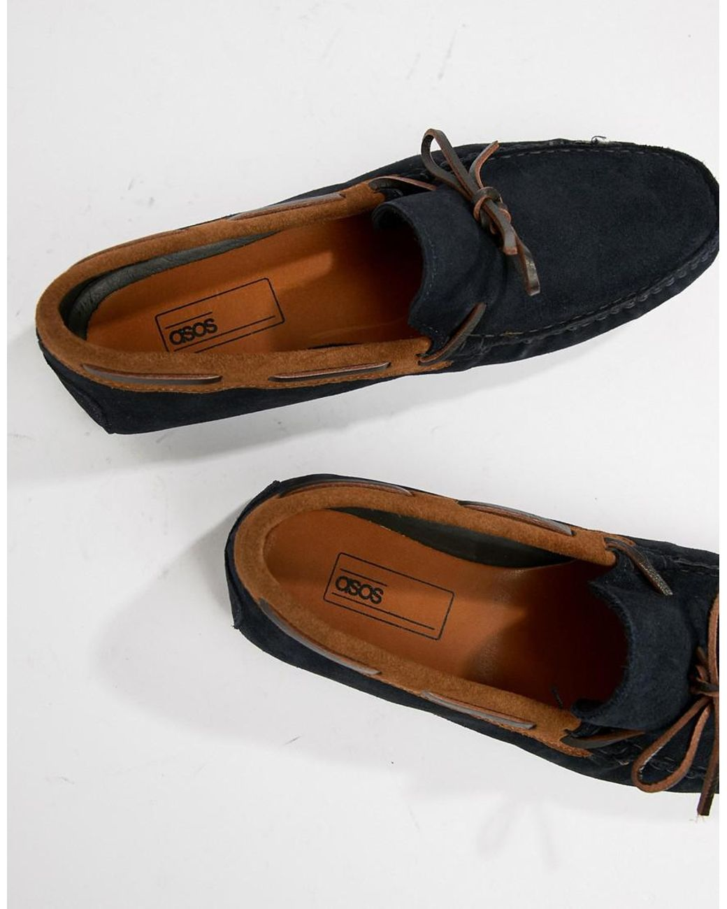 ebe048d245c5d ASOS Driving Shoes In Navy Suede With Brown Leather Detail in Blue for Men  - Lyst