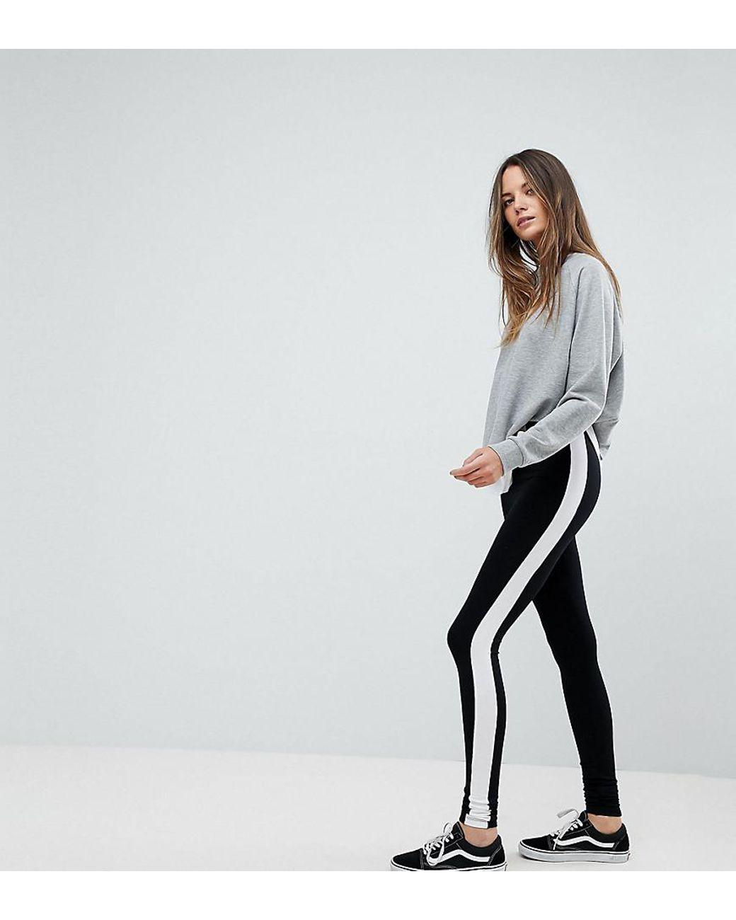 6fec6d0f0b2a8d ASOS Asos Design Tall leggings With Side Stripe in Black - Lyst