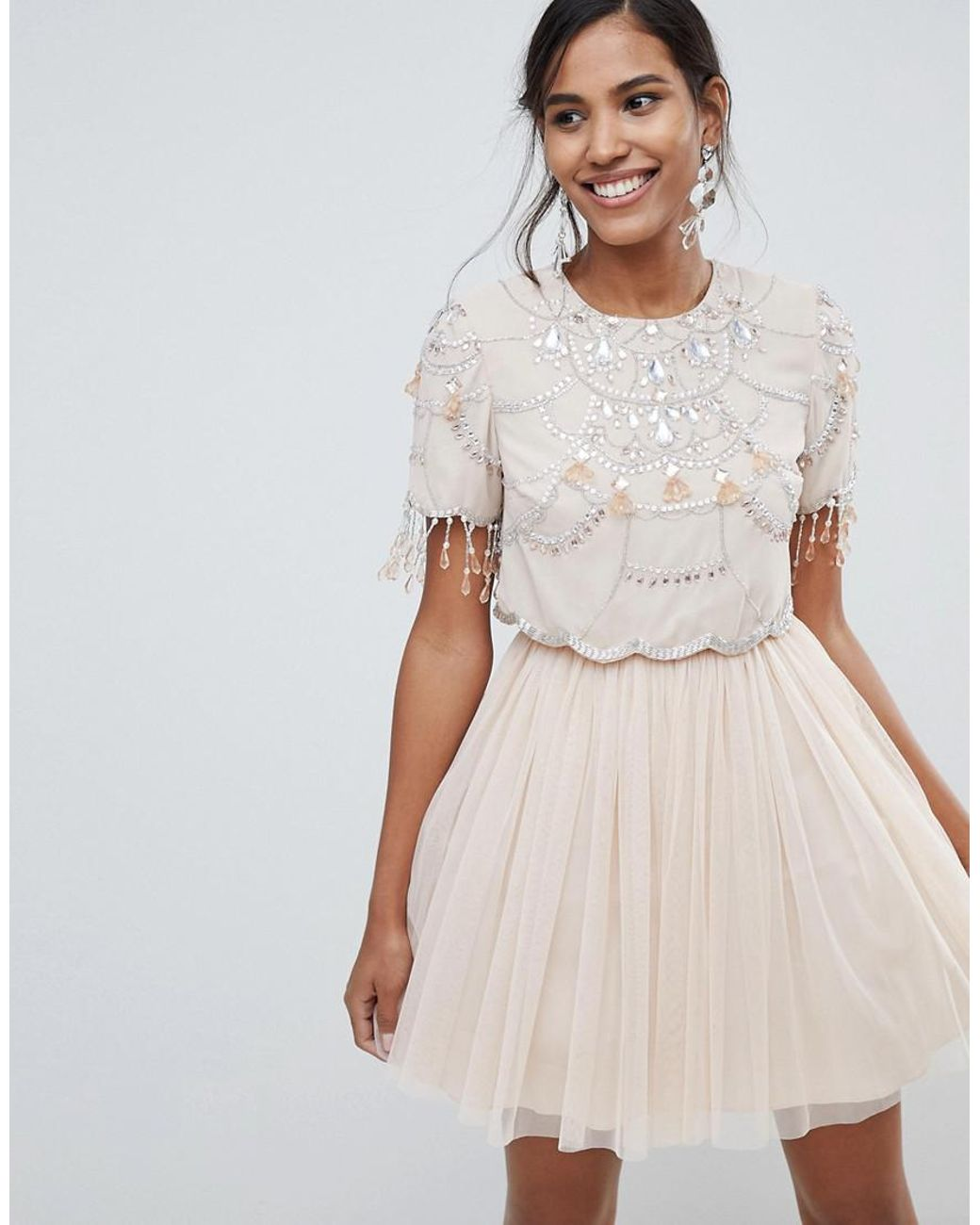 6de4426b1c76b9 Long-Touch to Zoom. Long-Touch to Zoom. 1; 2. ASOS - Natural Crop Top  Fringe Embellishment Tulle Mini Dress ...