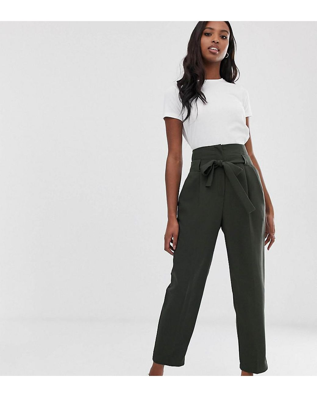 87cca5a5 ASOS Asos Design Tall Tailored Tie Waist Tapered Ankle Grazer Trousers in  Green - Lyst