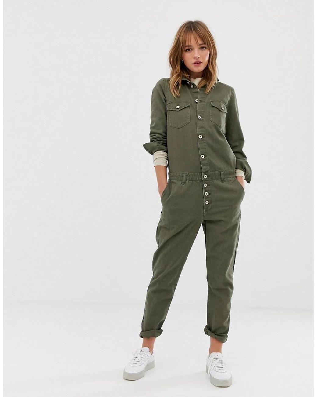 9659baeea88 ONLY Denim Boiler Suit in Green - Lyst