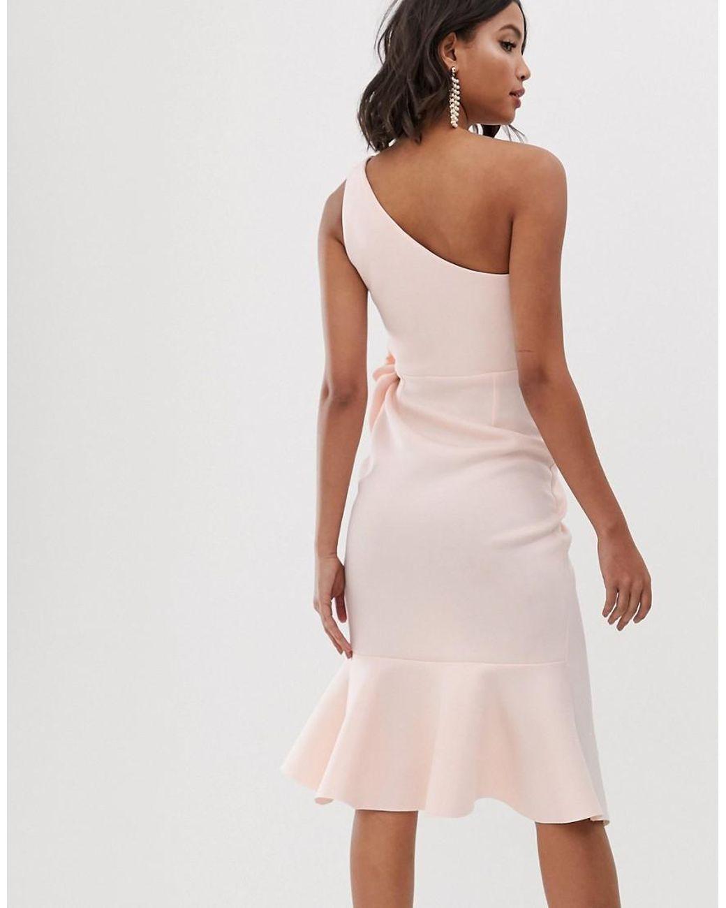 5c6d6f0b32 ASOS One Shoulder Tuck Detail Midi Dress in Pink - Lyst