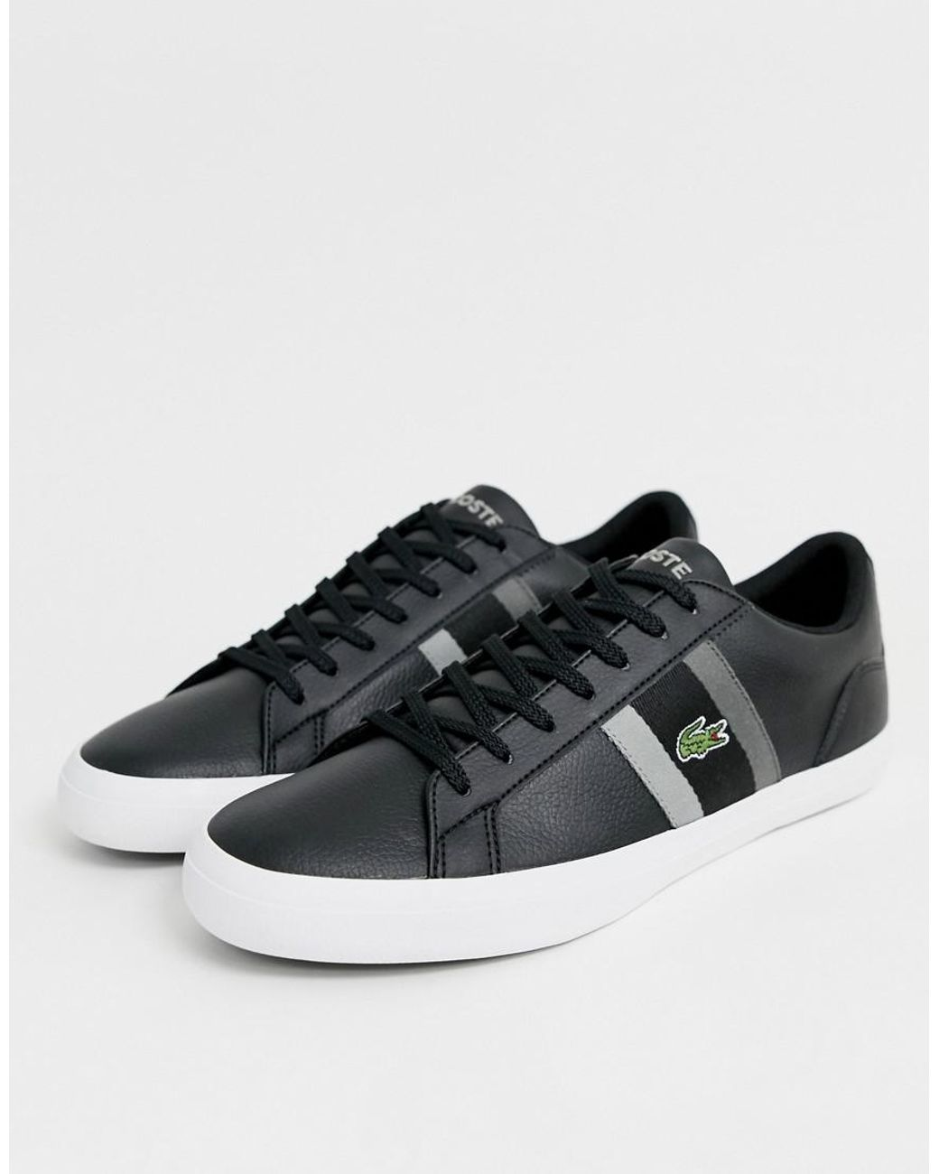 e9b343bcba89 Lacoste Lerond Trainers With Side Stripe In Black Leather in Black for Men  - Lyst