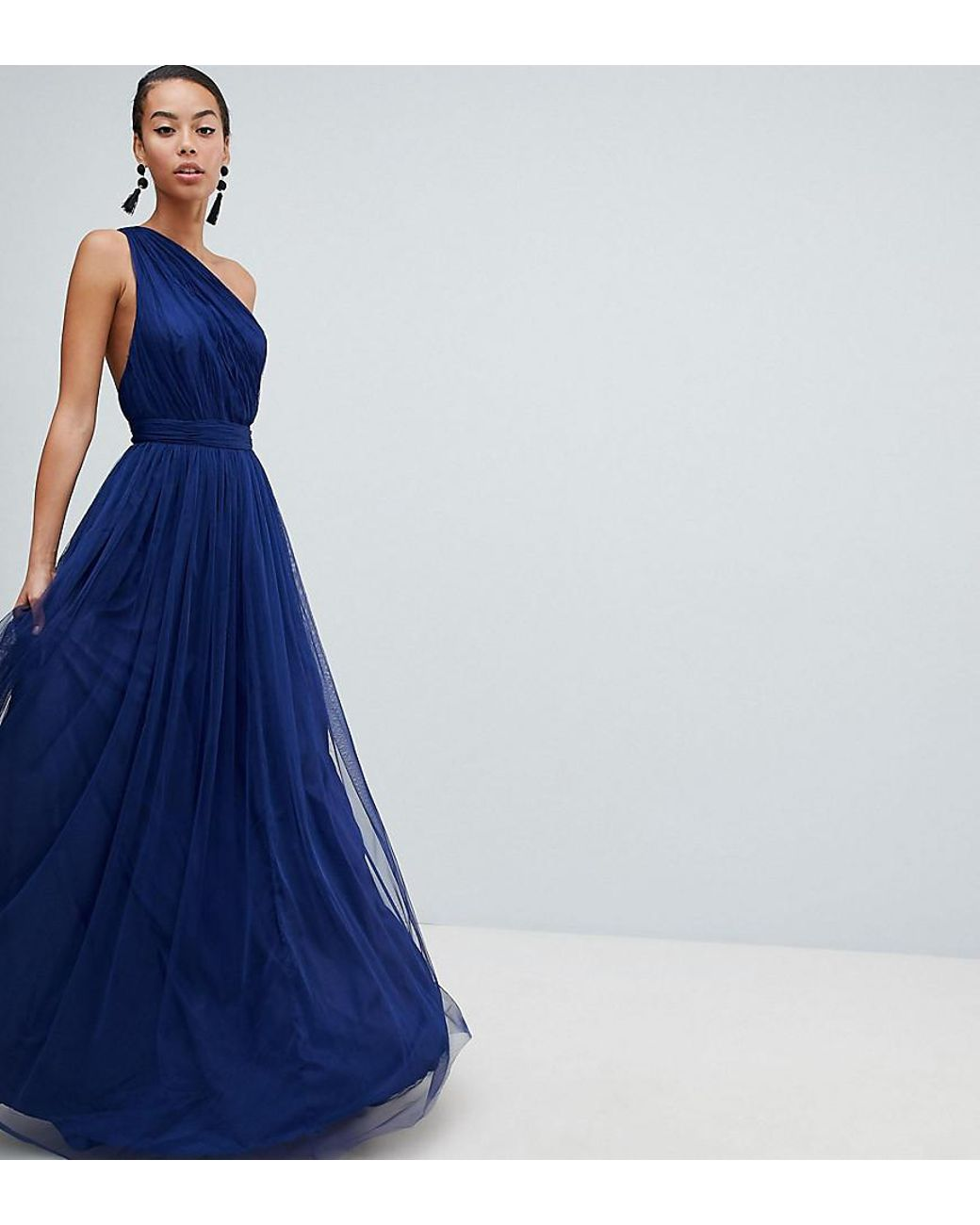 a1a32df685 ASOS Asos Design Tall Premium Tulle One Shoulder Maxi Dress in Blue - Lyst