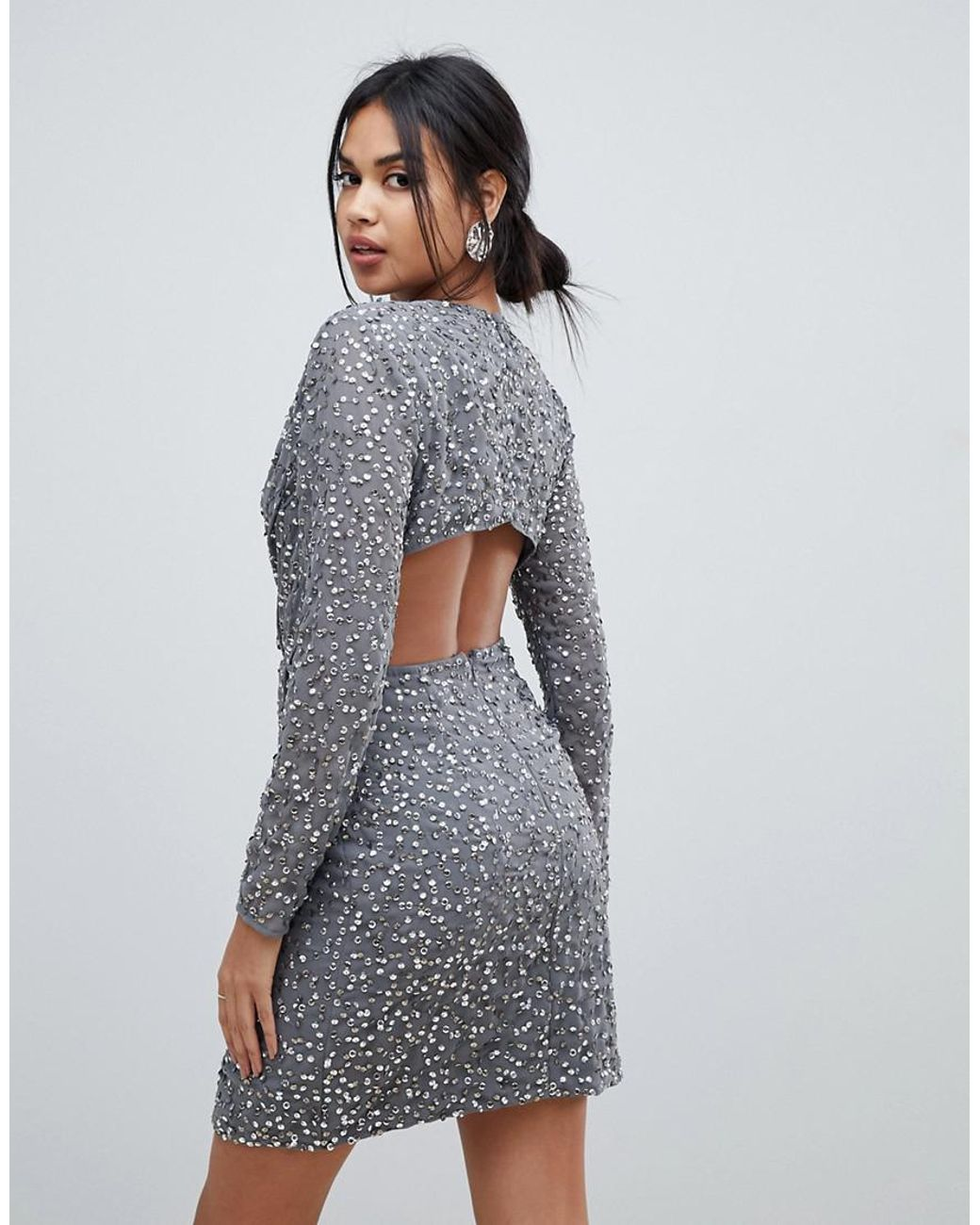 6f21148ba2f8 ASOS Wrap Front Mini Dress In Scatter Sequin With Open Back in Gray - Lyst