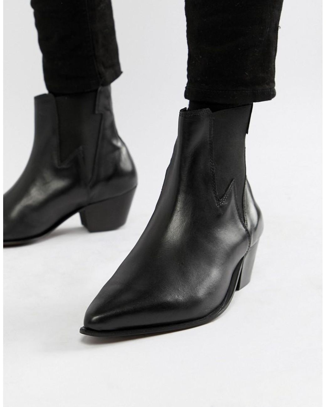 1e6c234ca3c ASOS Cuban Heel Western Chelsea Boots In Black Leather With Lightning  Detail in Black for Men - Lyst