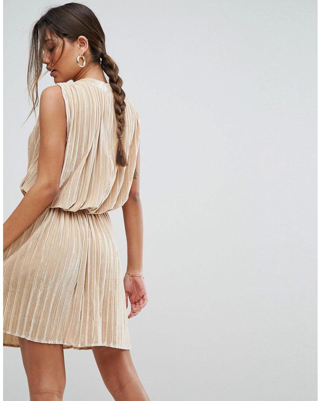 a03304bd03d Aeryne Sleeveless Velvet Pleated Dress in Metallic - Lyst