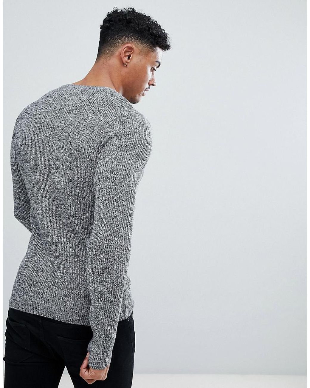 f19c666d ASOS Muscle Fit Ribbed Sweater In Black & White Twist in Gray for Men - Lyst