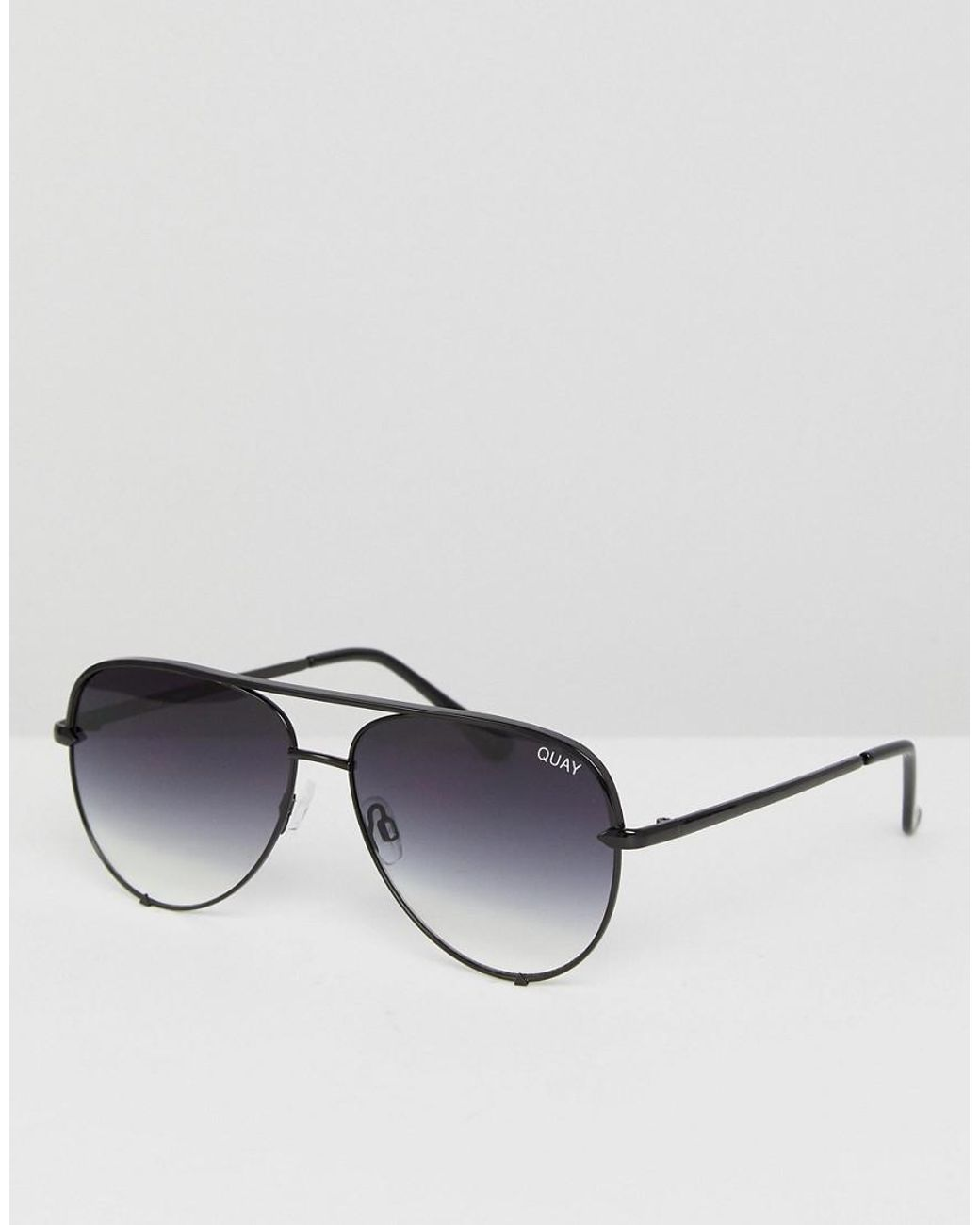 9589bd673b97 Long-Touch to Zoom. Long-Touch to Zoom. 1  2. Quay - X Desi High Key Mini  Aviator Sunglasses In Black Fade ...