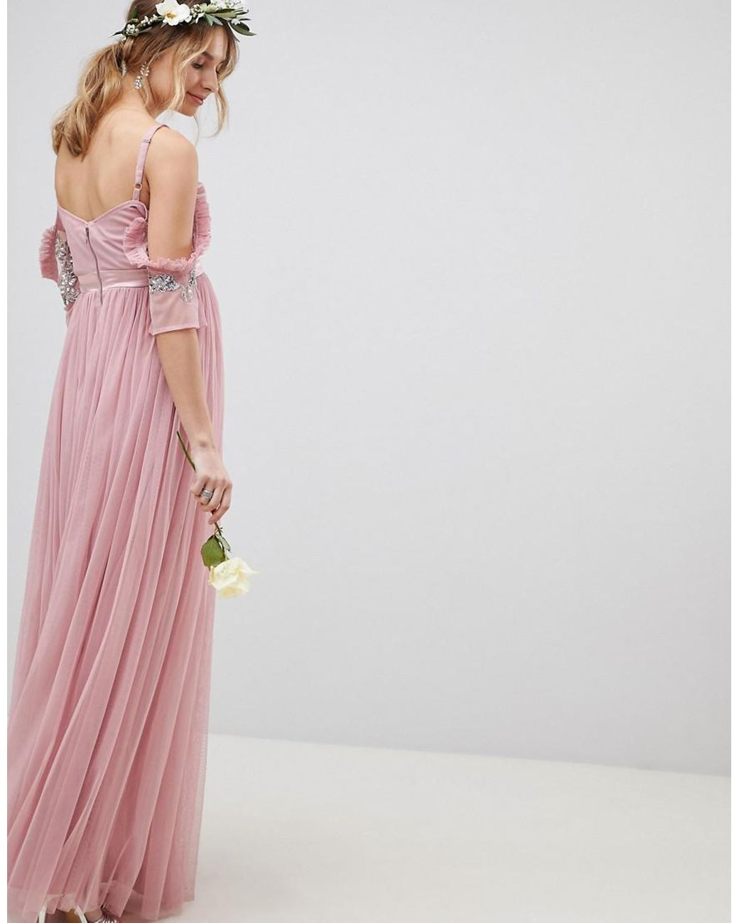 cc233d546495fd Maya Maternity Cold Shoulder Sequin Detail Tulle Maxi Dress With Ruffle  Detail in Pink - Lyst