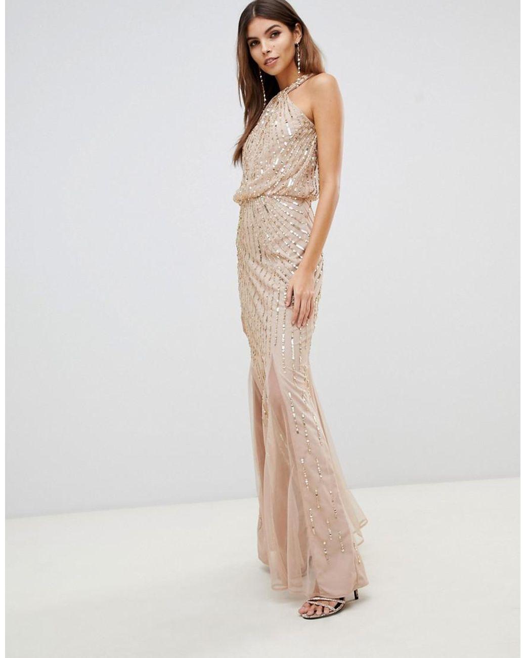 c53db1fb33ce93 Lyst - Lipsy Twist Neck Sequin Maxi Dress In Gold in Metallic