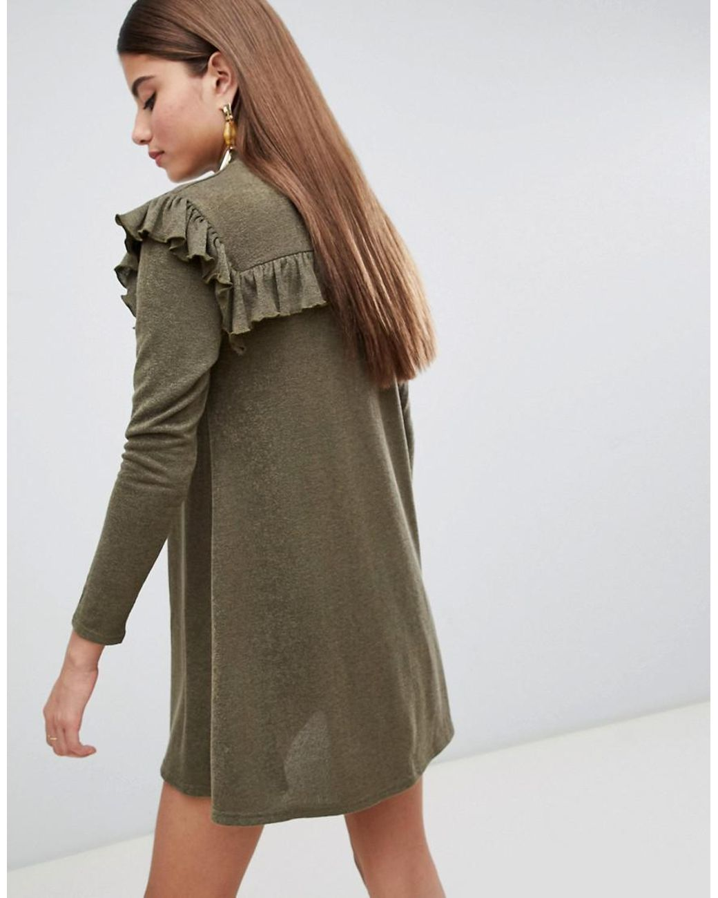 849504559e7 AX Paris Long Sleeve Sweater Dress With Frill Detail in Green - Lyst