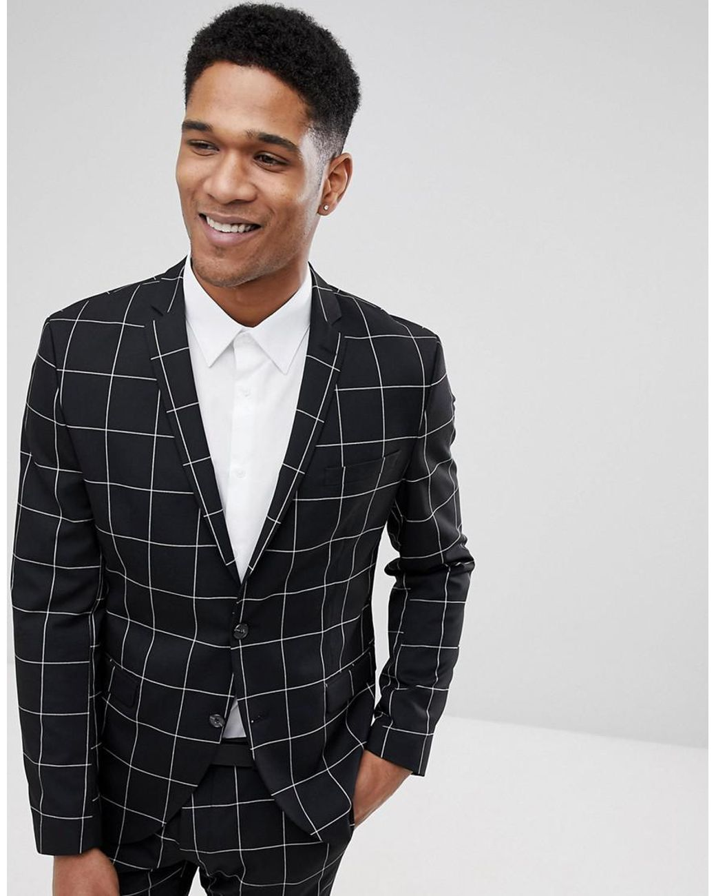 51e7f4a738ad SELECTED Slim Fit Suit Jacket In Panel Grid in Black for Men - Lyst