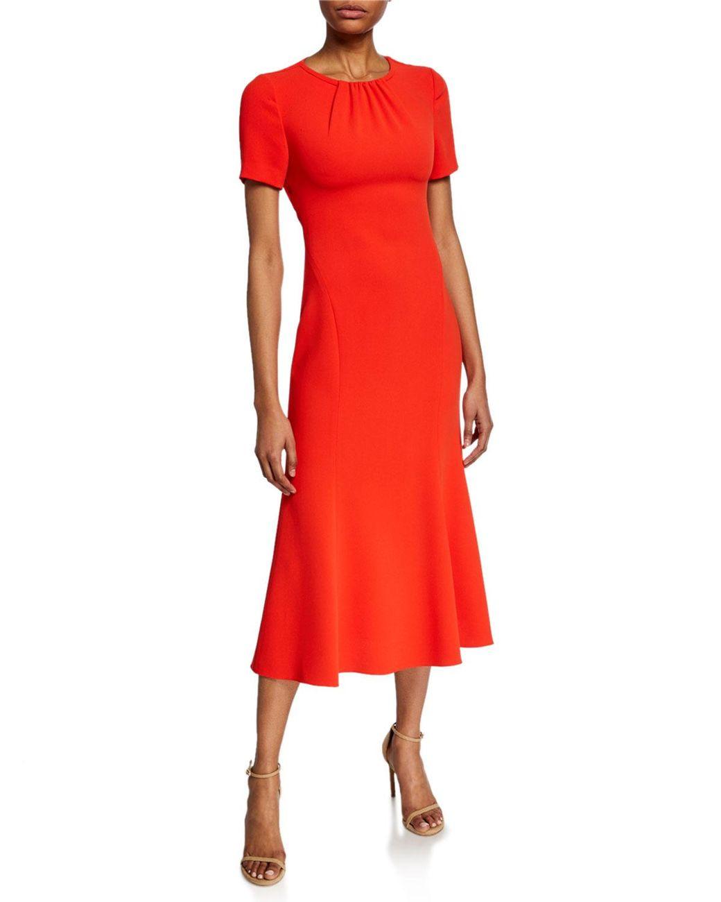 ecc3ad9b9d Diane von Furstenberg Rose Short-sleeve Midi Dress With Back Cutout in Red  - Save 40% - Lyst