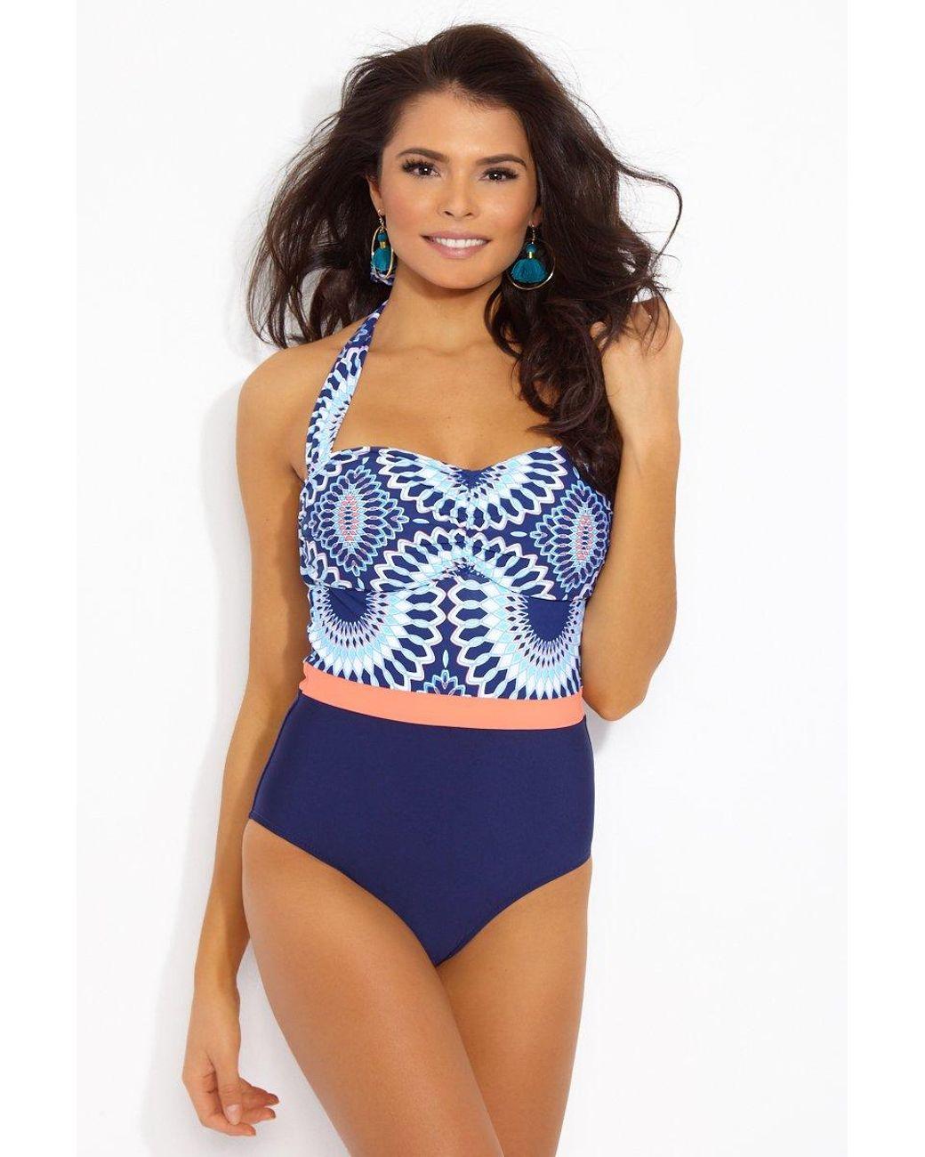 81b3e8418e Helen Jon Del Rey Retro Color Block One Piece Swimsuit - Laguna in Blue -  Lyst