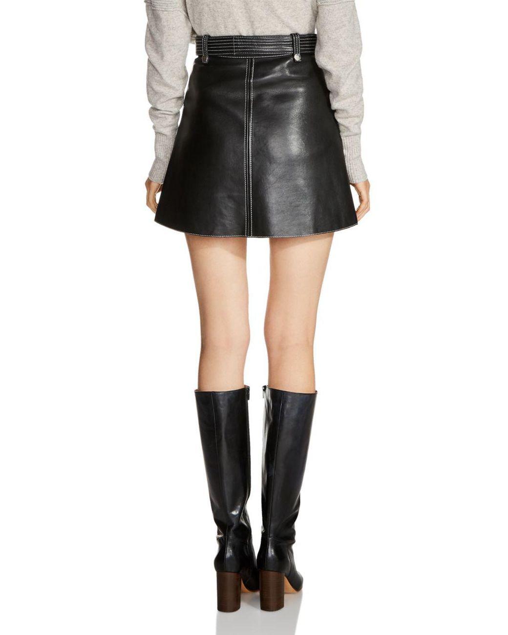 c7e2db6ef Maje Jouki Leather Mini Skirt in Black - Save 53% - Lyst