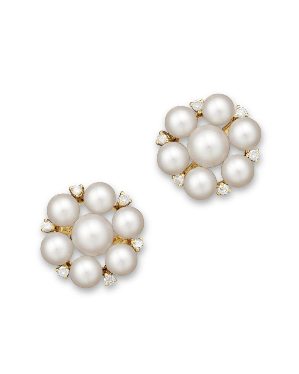 d59e6c988 Lyst - Bloomingdale's Cultured Freshwater Pearl Cluster Earrings In 14k Yellow  Gold in White