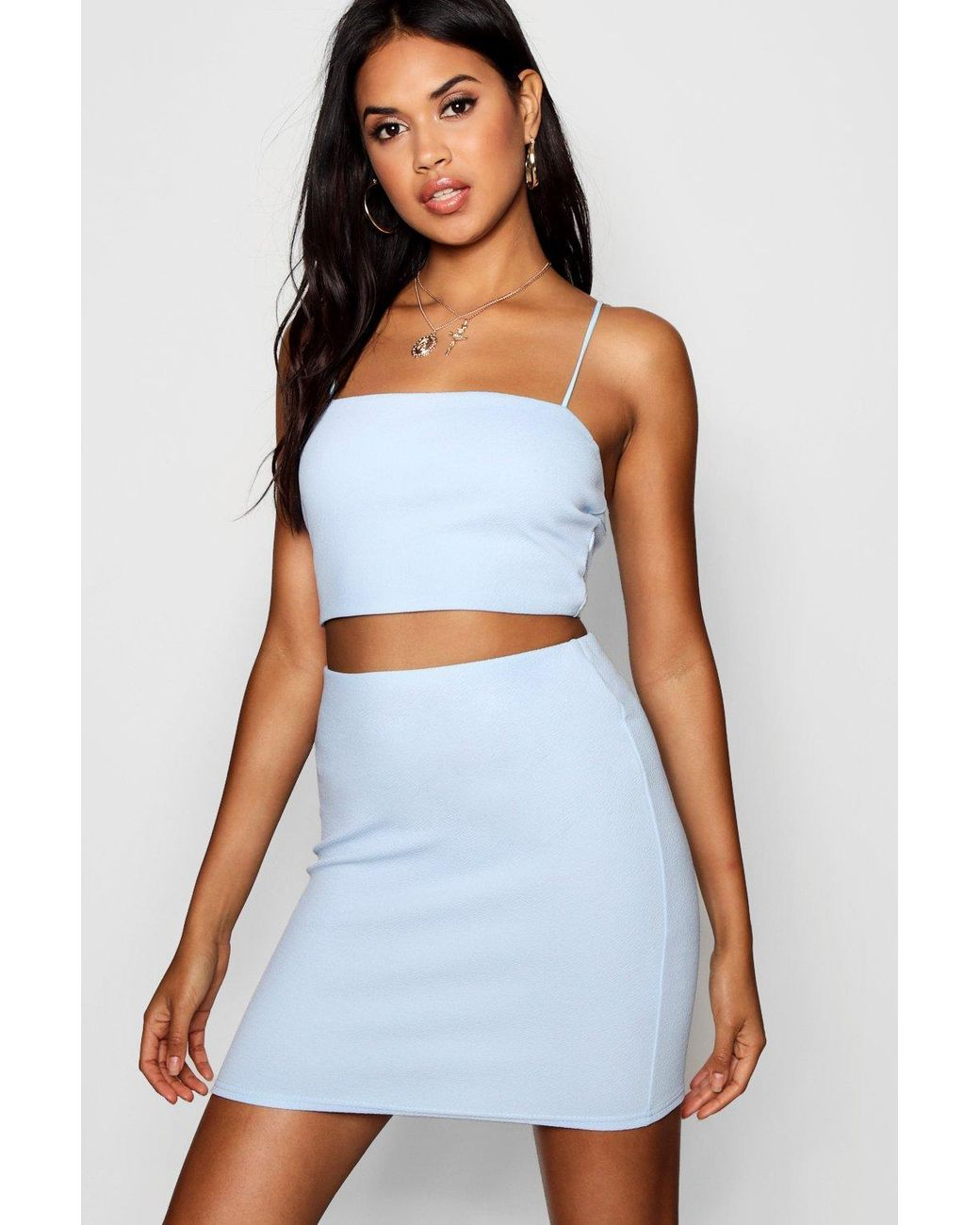 ca92ef71ea52 Boohoo Strappy Crop & Mini Skirt Co-ord Set in Blue - Lyst