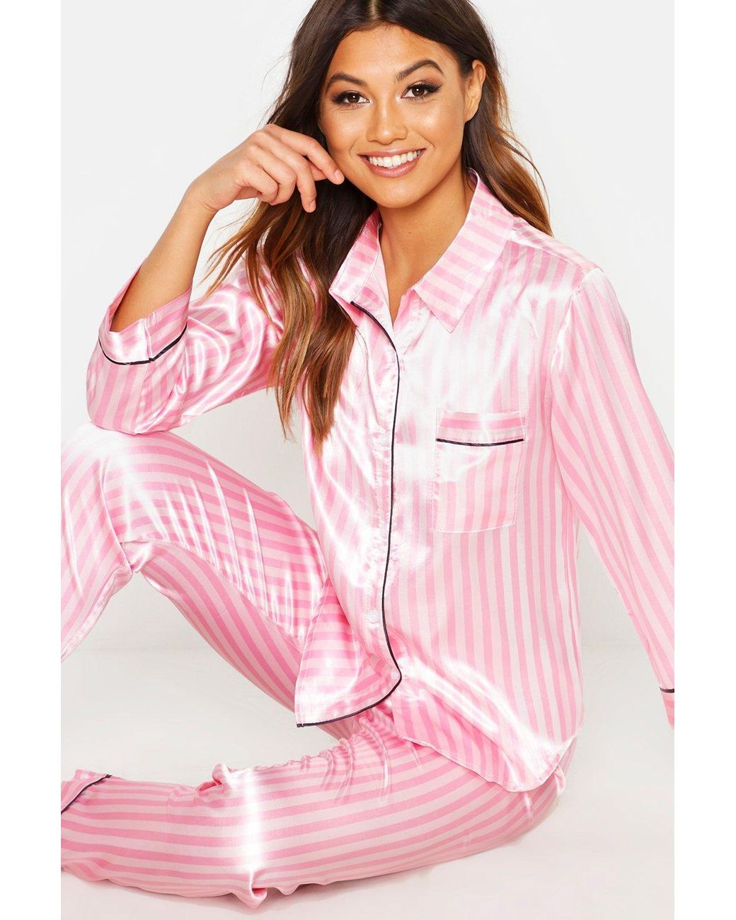 f410788e Lyst - Boohoo Satin Striped Pj Trouser Set in Pink