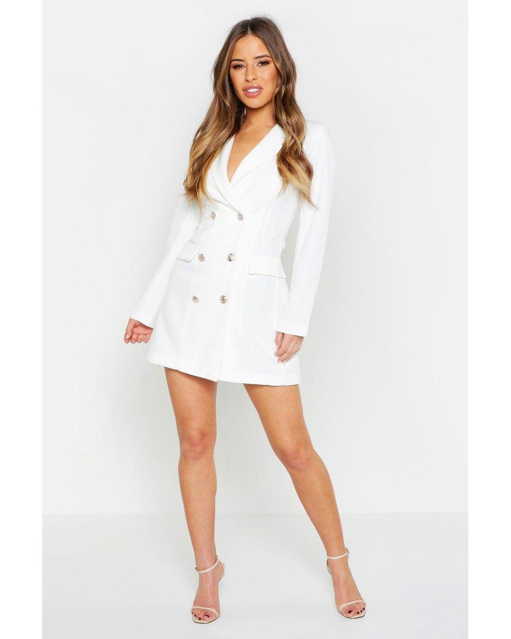 cf17ea22f78d Boohoo Petite Button Through Blazer Dress in White - Lyst