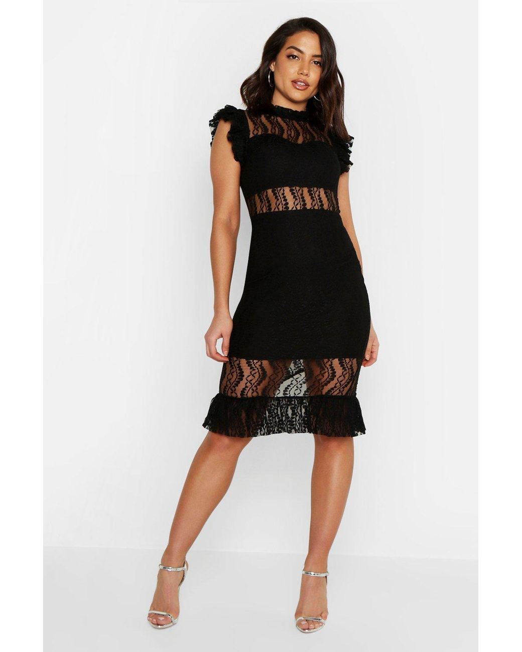 a7f5ff816406f Long-Touch to Zoom. Long-Touch to Zoom. 1; 2. Boohoo - Black All Over Lace  Short Sleeve Midi Dress ...
