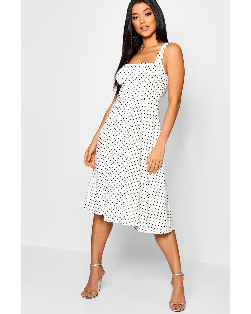 5180b475000a8 Lyst - Boohoo Polka Dot Square Neck Midi Skater Dress in White
