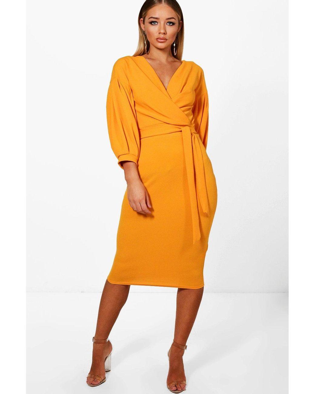 fd8b3b9fae67 Boohoo Off The Shoulder Wrap Midi Bodycon Dress in Orange - Lyst