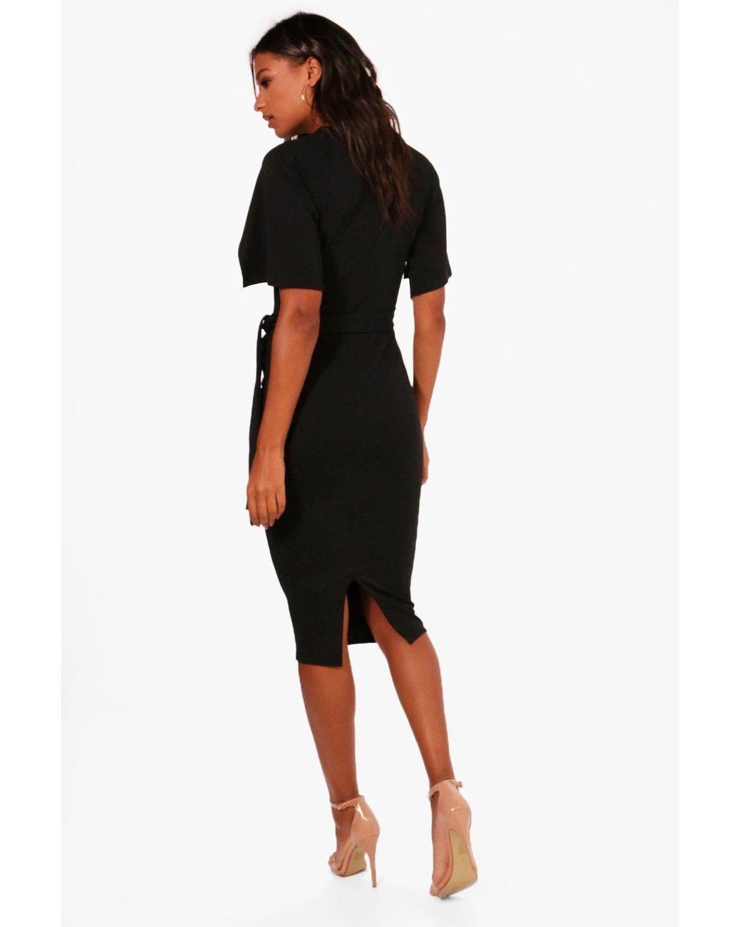686231a90b08 Boohoo Split Sleeve Tie Waist Wiggle Midi Dress in Pink - Lyst