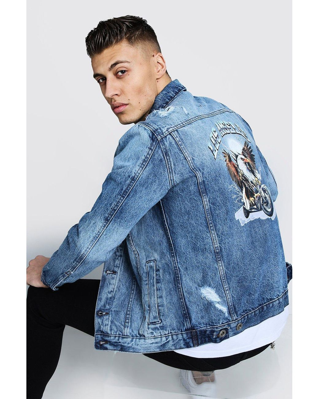 05174c60797bd BoohooMAN Denim Jacket With Back Print in Blue for Men - Lyst