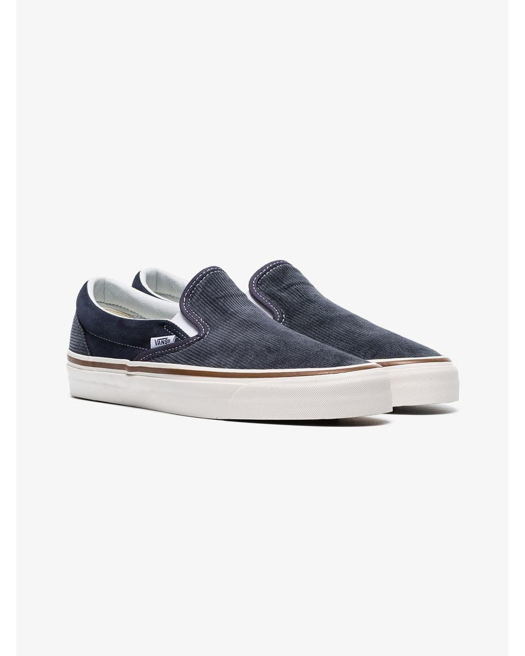 9c24e8860d Lyst - Vans Navy Blue And Grey 98 Dx Corduroy Slip On Sneakers in ...