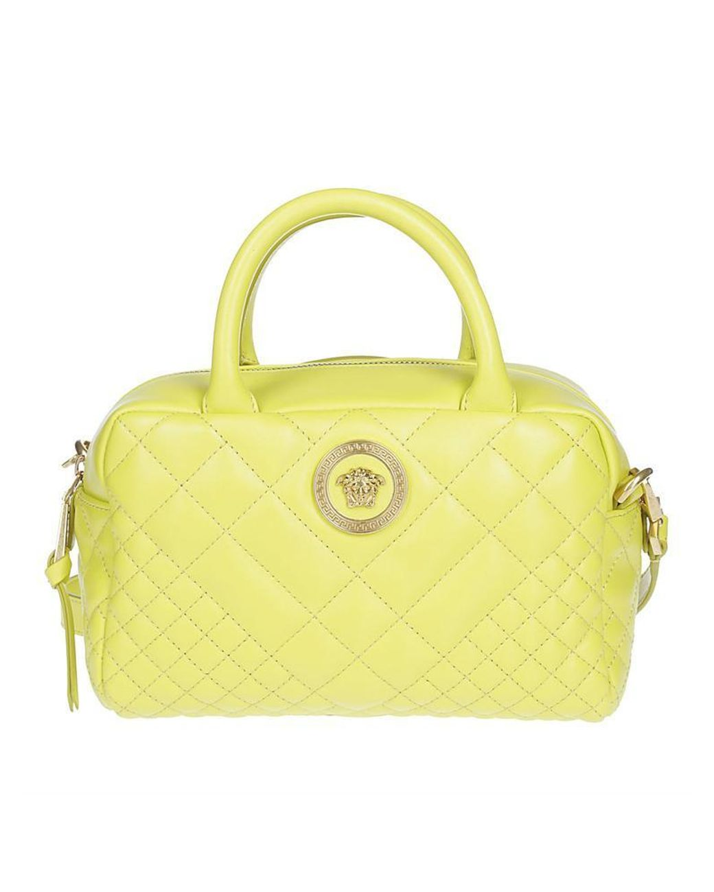 f23f2d3f Versace Quilted Logo Shoulder Bag in Yellow - Lyst