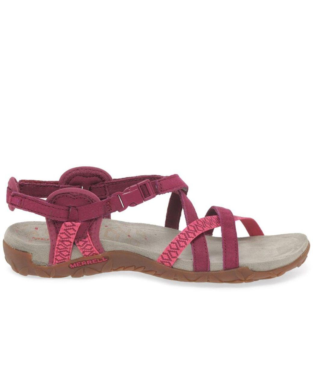 062884f7e986 Lyst - Merrell Terran Lattice Ii Womens Fuschia Sandals