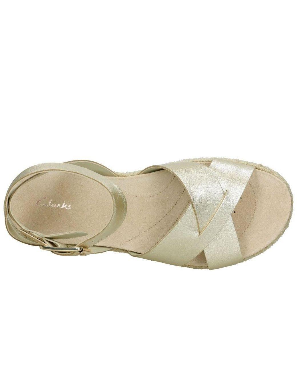 3aa8af98fc02 Clarks Botanic Poppy Womens Metallic Espadrille Sandals in Metallic - Lyst