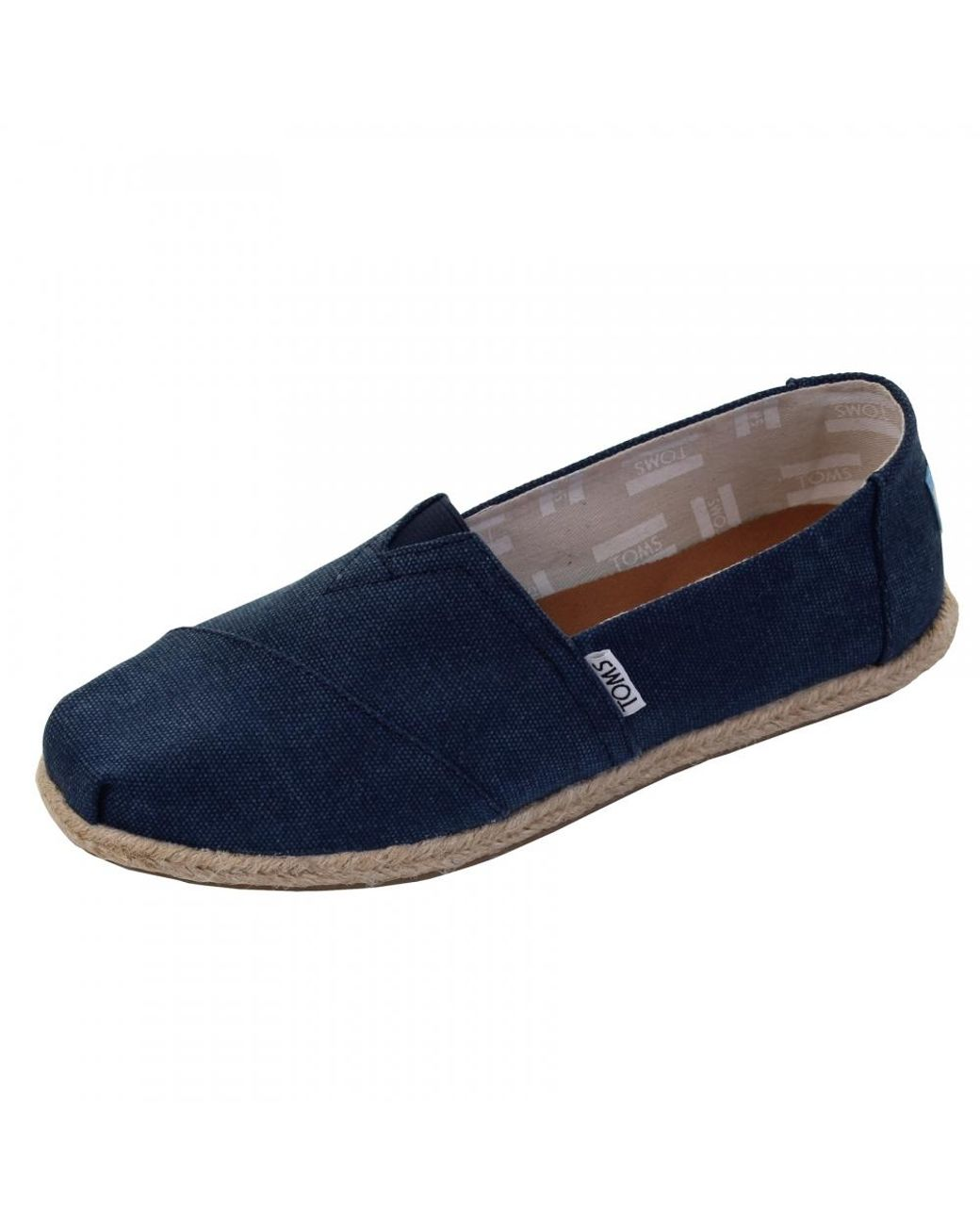 fb905311b87 Lyst - TOMS Alpargata Navy Washed Canvas Rope Sole Womens Espadrille ...